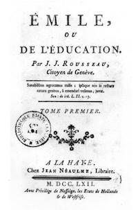 Portada de la primera edición de Emilio o de la Educación. De Jean-Jacques Rousseau (1712-1778) - http://www.allposters.com/-sp/Frontispiece-for-Emile-by-Jean-Jacques-Rousseau-1762-Posters_i1587514_.htm, Dominio público, https://commons.wikimedia.org/w/index.php?curid=1860008